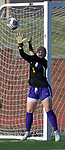 Rosati-Kain goalkeeper Analiese Wilmsmeyer makes a catch on a corner kick by Notre Dame. Notre Dame High School (Cape Girardeau) defeated Rosati-Kain in the Class 2 girls quarterfinal game played at St. Louis University High School in St. Louis, MO on Wednesday May 22, 2019.<br /> Tim Vizer/Special to STLhighschoolsports.com