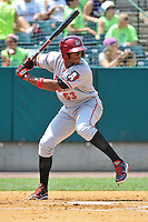 Keon Broxton (53) of the Altoona Curve bats during a game against the New Britain Rocks Cats at New Britain Stadium on July 23, 2014 in New Britain, Connecticut.  Altoona defeated New Britain 8-5. (Gregory Vasil/Four Seam Images)