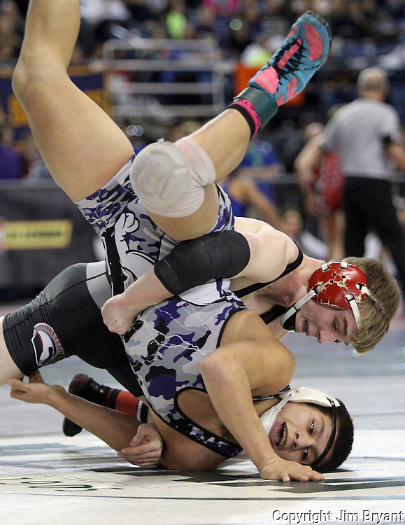 Union's Tommy Strassenberg takes down Yelm's Chayton Miller to earn two points in their 152 pound match on Friday, Feb, 19, 2016 at the Mat Classic XXVIII held in the Tacoma Dome. Strassenberg went onto win his match 4-1.(Jim Bryant Photo)