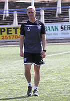 Motherwell coach Maurice Ross before the SPFL Betfred League Cup group match between Queen of the South and Motherwell at Palmerston Park, Dumfries on 13.7.19.