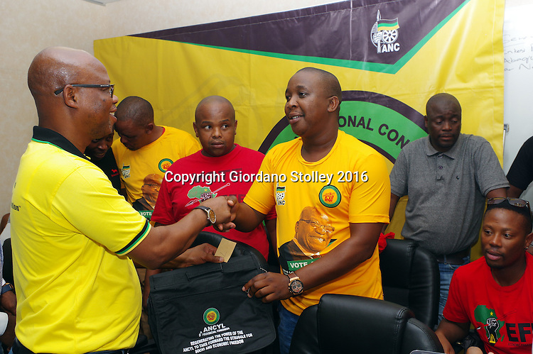 DURBAN - 19 January 2016 - Super Zuma (left), the KwaZulu-Natal provincial secretary of the African National Congress, welcomes Nathi Phewa to the ANC. Phewa was one of the founding members of the Economic Freedom Fighters in KwaZulu-Natal in 2013. Phewa claimed he left EFF because its leader Julius Malema was running it like a dictator. Looking on are other defectors, including Dumisani Ngubane (centre, red shirt), a former provincial organiser for EFF. Picture Allied Picture Press/APP