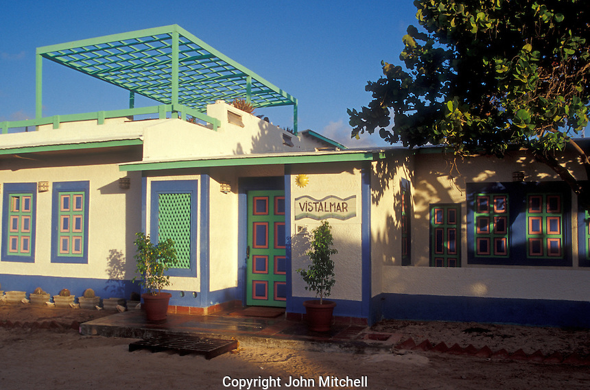 Colourful hotel or guesthouse on Gran Roque, Los Roques islands, Venezuela