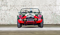BNPS.co.uk (01202 558833)<br /> Pic: PendineHistoricCars/BNPS<br /> <br /> The little Triumph that triumphed at Le Mans...<br /> <br /> Yours for £300,000 this tiny TRS was one of a team of three that won the prestigious 24hr team race in 1961.<br /> <br /> The trio finished 9th, 11th and 15th, landing the manufacturer the team prize which is awarded to the entrants whose cars complete the most laps.<br /> <br /> Built in 1960, the car is powered by a 1900cc 'Sabrina' prototype engine specifically developed by the Triumph Competition department for the race, and with drum brakes all round, no roll bar, bumpers or even a roof it's not for the faint hearted.<br /> <br /> Only 4 of the stripped back and highly tuned racing cars were ever built, but their success fuelled the TR brand through the 60's and 70's until the proud Triumph name finally ceased production in 1984.