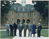 "Williamsburg, VA - May 29, 1983 -- ""Class photo"" of the G-7 leaders from the  Economic Summit in Williamsburg, Virginia on May 29, 1983.  From left to right:  Prime Minister Pierre Trudeau of Canada, President Gaston Thorn of the European Commission, Chancellor Helmut Kohl of West Germany, President Francois Mitterrand of France, President Reagan, Prime Minister Yasuhiro Nakasone of Japan, Prime Minister Margaret Thatcher of the United Kingdom, and Prime Minister Amintore Fanfani of Italy..Credit: White House via CNP"