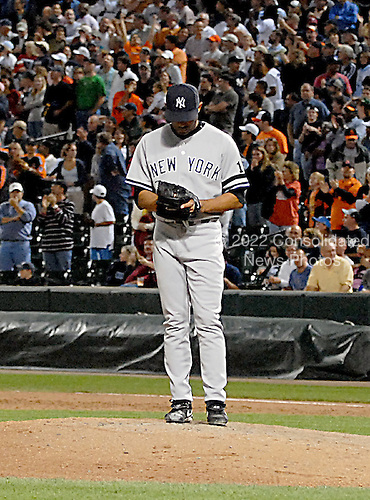 Baltimore, MD - September 28, 2007 -- New York Yankees pitcher Mariano Rivera (42) stands alone after giving up a 3 run triple in the 9th inning to allow the Orioles to tie the score 9 - 9 at Camden Yards in Baltimore, MD on Friday, September 28, 2007.  The Orioles won the game in 10 innings 10 - 9..Credit: Ron Sachs / CNP.(RESTRICTION: NO New York or New Jersey Newspapers or newspapers within a 75 mile radius of New York City)