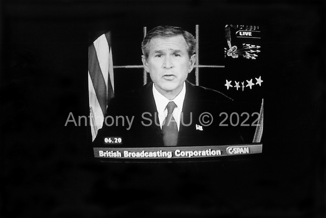 San Francisco, California.USA.March 20, 2003..US President George W. Bush announces the US war on Iraq has begun.