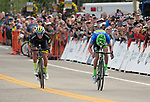 August 11, 2017 - Breckenridge, Colorado, U.S. -   Holowesko/Citadel's, T.J. Eisenhart, and Cannondale's, Alex Howes, sprint for the finish during the second stage of the inaugural Colorado Classic cycling race, Breckenridge, Colorado.
