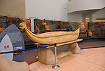 Washington DC; USA:  National Museum of the American Indian, display at inspiring new architecture on the Mall.  Reed canoe on display in lobby..Photo copyright Lee Foster Photo # 12-washdc83241