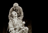 """King Lear (Anthony Hopkins) and Edgar (Bill Nighy) in  """"King Lear"""" by William Shakespeare at the National Theatre, London 1986.  Directed by David Hare and designed by Hayden Griffin."""