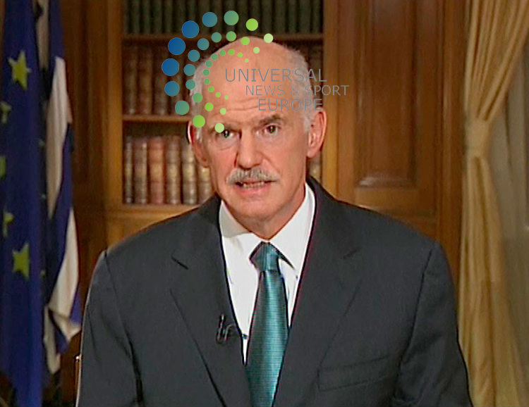 Greek PM George Papandreou addressing the nation on state TV is to form a new government as he tries to win support for austerity measures demanded by the EU and IMF..He will seek to have the government ratified in a vote of confidence in parliament on Thursday, he said..Mr Papandreou has faced the threat of a revolt in his socialist Pasok party over the controversial package..Greek police clashed with anti-austerity protesters near parliament, and unions held a general strike..Picture: Universal News And Sport (Scotland) 15 June 2011..<br /> (Universal News does not claim any Copyright or License in the attached material. Any downloading fee charged by Universal News and Sport is for Universal News services only. We are advised that screen Image's should not be used more than 48 hours after the time of original transmission, without the consent of the copyright holder)..