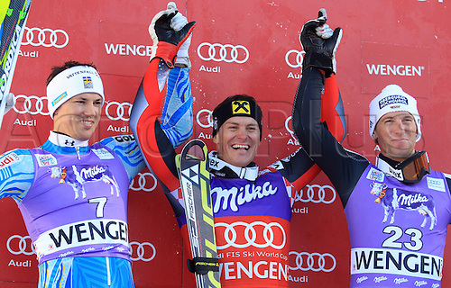 15.01.2012 Wengen, Switzerland.  Ski Alpine FIS World Cup Slalom the men Award Ceremony Picture shows the cheering from Andr頍yhrer SWE Ivica Kostelic CRO and Fritz Dopfer ger