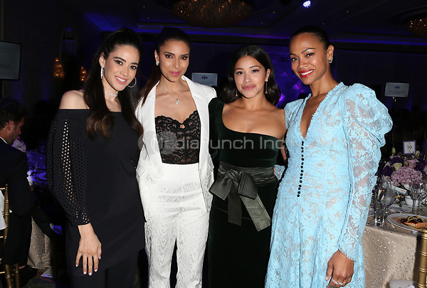 LOS ANGELES, CA - NOVEMBER 8: Edy Ganem, Roselyn Sanchez, Gina Rodriguez, Zoe Saldana, at the Eva Longoria Foundation Dinner Gala honoring Zoe Saldana and Gina Rodriguez at The Four Seasons Beverly Hills in Los Angeles, California on November 8, 2018. Credit: Faye Sadou/MediaPunch