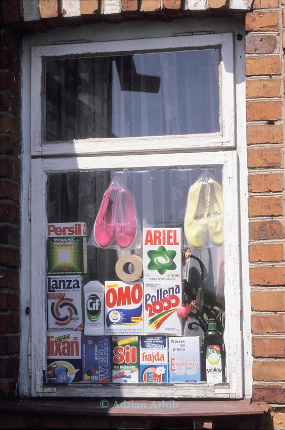 Western products in a shop window. Bialowieza. Byelorussian/ Polish border. Poland