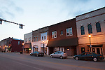 Main St at dusk in small town Indiana, Tipton, Indiana, USA