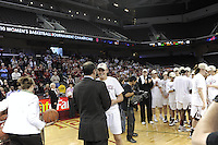 March 14, 2010.  Jayne Appel receives her game ball after the Stanford Cardinal beat the UCLA Bruins to win the 2010 Pac-10 Tournament.