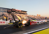 Feb 6, 2015; Pomona, CA, USA; NHRA top fuel driver Steve Torrence during qualifying for the Winternationals at Auto Club Raceway at Pomona. Mandatory Credit: Mark J. Rebilas-USA TODAY Sports