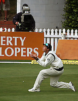 NZ's Tim Southee catches Harbahjan Singh during day four of the 3rd test between the New Zealand Black Caps and India at Allied Prime Basin Reserve, Wellington, New Zealand on Monday, 6 April 2009. Photo: Dave Lintott / lintottphoto.co.nz.