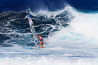 Sarah Delaunay at the 6th and final stop of the 2012 American Windsurfing Tour (AWT), in Ho'okipa Beach Park (Maui, Hawaii, USA)