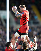 Dom Day of Saracens wins the ball at a lineout. Premiership Rugby Cup Final, between Northampton Saints and Saracens on March 17, 2019 at Franklin's Gardens in Northampton, England. Photo by: Patrick Khachfe / JMP