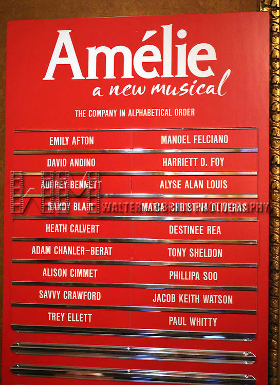 Lobby cast board for the Broadway Opening Night Performance of 'Amelie' at the Walter Kerr Theatre on April 3, 2017 in New York City.