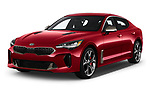 2018 KIA Stinger GT 5 Door Hatchback angular front stock photos of front three quarter view
