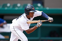 Detroit Tigers Jose Azocar (31) squares to bunt during an Instructional League game against the Toronto Blue Jays on October 12, 2017 at Joker Marchant Stadium in Lakeland, Florida.  (Mike Janes/Four Seam Images)