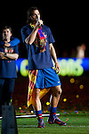 BARCELONA (16/05/2010).- Barcelona players celebrate Spanish League Championship at Camp Nou Stadium. Zlatan Ibrahimovic...Photo. Gregorio / ALFAQUI