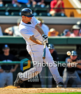 11 March 2009: Detroit Tigers' catcher Max St. Pierre hits a single during a Spring Training game against the New York Yankees at Joker Marchant Stadium in Lakeland, Florida. The Tigers defeated the Yankees 7-4 in the Grapefruit League matchup. Mandatory Photo Credit: Ed Wolfstein Photo
