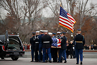A joint service honor guard carries the casket of former US President George H.W. Bush out of the US Capitol in Washington, DC, USA, 05 December 2018. George H.W. Bush, the 41st President of the United States (1989-1993), died at the age of 94 on 30 November 2018 at his home in Texas.<br /> CAP/MPI/RS<br /> &copy;RS/MPI/Capital Pictures