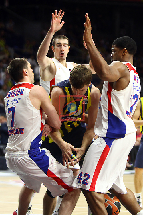 Turkish Airlines Euroleague Final Four - Madrid 2015.<br /> Fenerbahce Ulker Istanbul vs CSKA Moscow: 80-86.<br /> Vitaly Fridzon, Nando de Colo, Jan Vesely &amp; Kyle Hines.