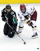 Matt Watkins (University of North Dakota - Aylesbury, SK), Benn Ferriero (Boston College - Essex, MA) - The Boston College Eagles defeated the University of North Dakota Fighting Sioux 6-4 in their 2007 Frozen Four semi-final on Thursday, April 5, 2007, at the Scottrade Center in St. Louis, Missouri.