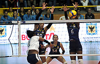 BOGOTÁ-COLOMBIA, 07-01-2020: Amanda Coneo y Valerin Carabali de Colombia, intentan un bloqueo al ataque de balón a Winderlys Medina de Venezuela, durante partido entre Venezuela y Colombia en el Preolímpico Suramericano de Voleibol, clasificatorio a los Juegos Olímpicos Tokio 2020, jugado en el Coliseo del Salitre en la ciudad de Bogotá del 7 al 9 de enero de 2020. / Amanda Coneo and Valerin Carabali from Colombia, tries to block the attack the ball to Winderlys Medina from Venezuela, during a match between Venezuela and Colombia, in the South American Volleyball Pre-Olympic Championship, qualifier for the Tokyo 2020 Olympic Games, played in the Colosseum El Salitre in Bogota city, from January 7 to 9, 2020. Photo: VizzorImage / Luis Ramírez / Staff.