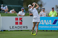 Jennifer Song watches her drive off of the 2d tee during Round 3 at the ANA Inspiration, Mission Hills Country Club, Rancho Mirage, Calafornia, USA. {03/31/2018}.<br />