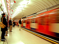 London tube at rush hour.