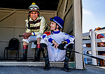 September 7, 2019 : Jockeys Shaun Bridgmahon and Channing Hill chat before the first race during racing at Kentucky Downs in Franklin, Kentucky. Scott Serio/Eclipse Sportswire/CSM