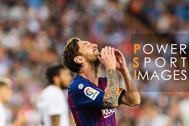 Lionel Messi of FC Barcelona reacts during their La Liga 2018-19 match between Valencia CF and FC Barcelona at Estadio de Mestalla on October 07 2018 in Valencia, Spain. Photo by Maria Jose Segovia Carmona / Power Sport Images