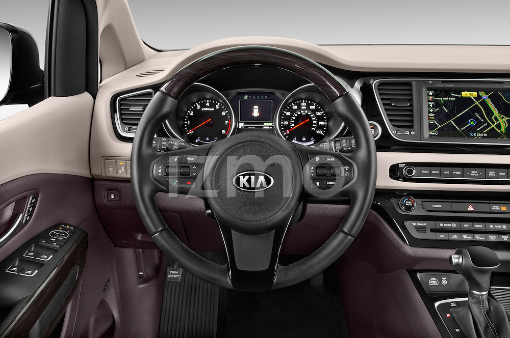 Car pictures of steering wheel view of a 2015 KIA Sedona LX Hybrid 5 Door Mini Van