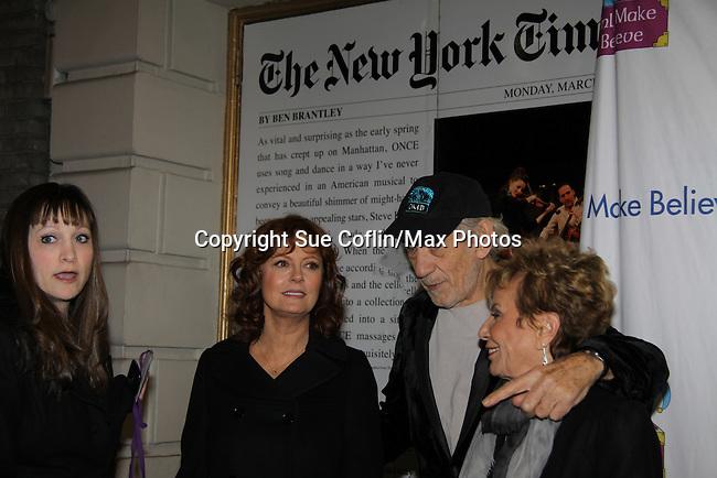 Lisa, Sir Ian McKellen, Susan Sarandon and Dena Hammerstein - Host Sir Ian McKellen honors Susan Sarandon with the Sir Ian McKellen Award at Only Make Believe on Broadway - 14th Annual Gala - on November 4, 2013 hosted by Sir Ian McKellen honoring Susan Sarandon in New York City, New York.  (Photo by Sue Coflin/Max Photos)