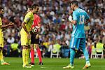 Villarreal's Bruno Soriano and Real Madrid's Kiko Casilla during the match of La Liga between Real Madrid  and Villarreal Club de Futbol at Santiago Bernabeu Estadium in Madrid. September 21, 2016. (ALTERPHOTOS/Rodrigo Jimenez)