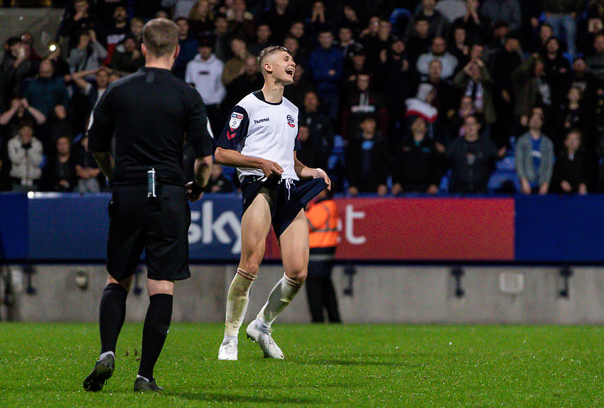 Bolton Wanderers' Adam Senior reacts after missing a penalty<br /> <br /> Photographer Andrew Kearns/CameraSport<br /> <br /> EFL Leasing.com Trophy - Northern Section - Group F - Bolton Wanderers v Bradford City -  Tuesday 3rd September 2019 - University of Bolton Stadium - Bolton<br />  <br /> World Copyright © 2018 CameraSport. All rights reserved. 43 Linden Ave. Countesthorpe. Leicester. England. LE8 5PG - Tel: +44 (0) 116 277 4147 - admin@camerasport.com - www.camerasport.com