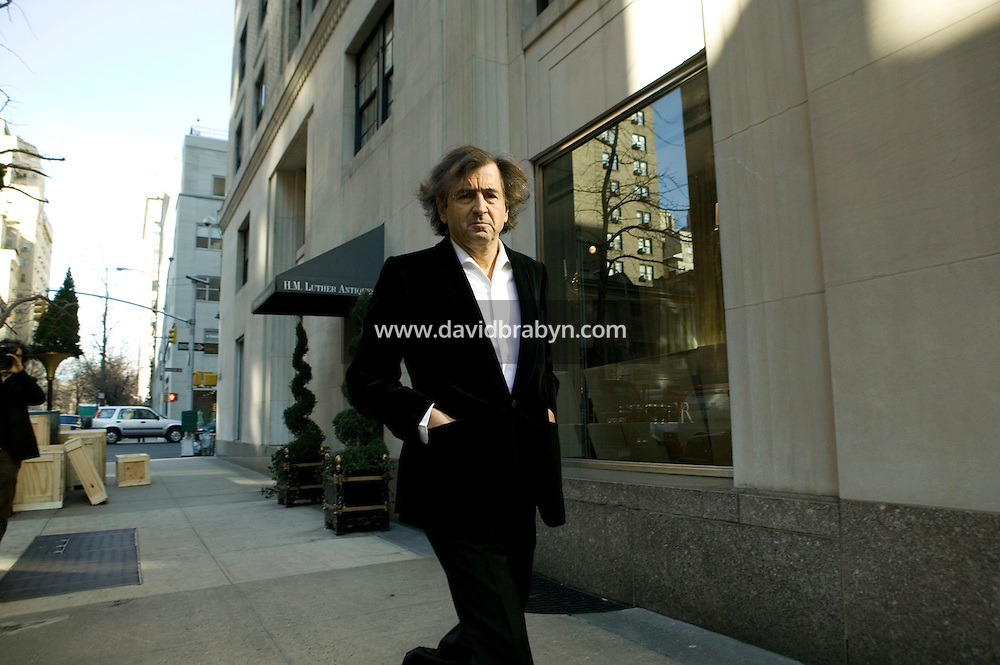 "French thinker and author Bernard-Henri Levy walks in the street of New York City, USA, for the photographer, 26 January 2006. Levy is in the United States to promote his new book ""American Vertigo"" in which he figuratively retraces the 1831 American journey of his countryman Alexis de Tocqueville and reflects on the state of the US."