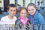 Quin O'Halloran, Emma Daly and Geri-Mai O'Sullivan pictured at world record attempt for the largest-ever Irish dancing session, in Denny street, Tralee on Friday evening.