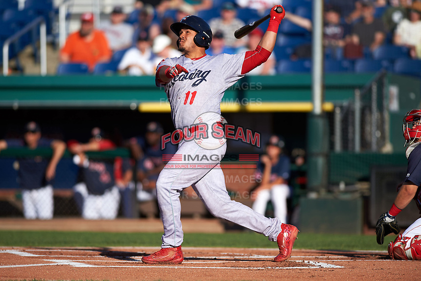 Reading Fightin Phils catcher Jorge Alfaro (11) hits a double during a game against the Portland Sea Dogs on May 31, 2016 at Hadlock Field in Portland, Maine.  Reading defeated Portland 6-4.  (Mike Janes/Four Seam Images)