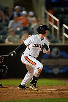 Aberdeen IronBirds Adley Rutschman (35) hits a single during a NY-Penn League game against the Vermont Lake Monsters on August 19, 2019 at Leidos Field at Ripken Stadium in Aberdeen, Maryland.  Aberdeen defeated Vermont 6-2.  (Mike Janes/Four Seam Images)