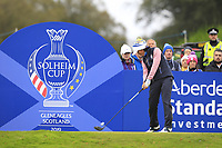 Celine Boutier of Team Europe on the 7th tee during Day 2 Foursomes at the Solheim Cup 2019, Gleneagles Golf CLub, Auchterarder, Perthshire, Scotland. 14/09/2019.<br /> Picture Thos Caffrey / Golffile.ie<br /> <br /> All photo usage must carry mandatory copyright credit (© Golffile | Thos Caffrey)