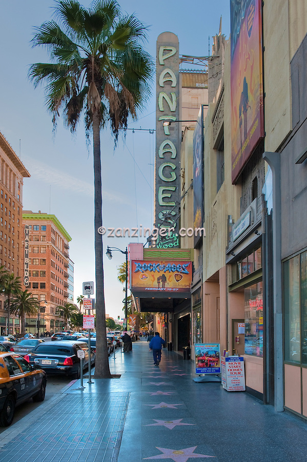 Pantages Theatre, Hollywood, Boulevard, Stars, Walk of Fame, Hollywood, Ca, ,Vertical image