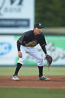 Kannapolis Intimidators third baseman Laz Rivera (13) on defense against the Hagerstown Suns at Kannapolis Intimidators Stadium on May 4, 2018 in Kannapolis, North Carolina.  The Intimidators defeated the Suns 11-0.  (Brian Westerholt/Four Seam Images)