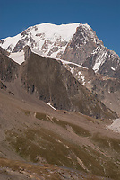 View to the northeast from the Col de la Seigne with the southwest face of Mt. Blanc.