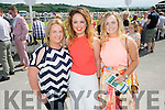 Michelle Kennelly, Rebecca Mulvihill and Aoife McCarthy.  enjoying the Listowel Races Ladies Day on Sunday.