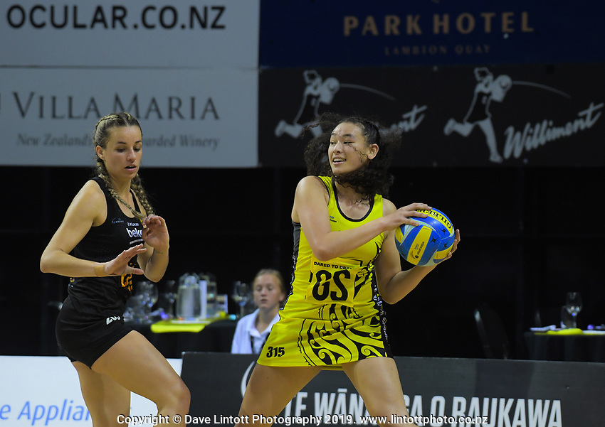 Saviour Tui takes a pass during the Beko Netball League match between Central Manawa and Waikato Bay Of Plenty at TSB Bank Arena in Wellington, New Zealand on Sunday, 21 April 2019. Photo: Dave Lintott / lintottphoto.co.nz